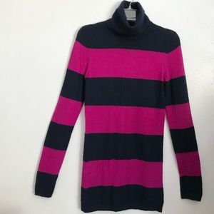 THEORY Black Pink Cashmere Turtleneck Sweater